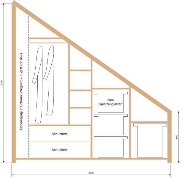 Bücherregal Dachschräge frage zu geplantem schrankbau skizzen